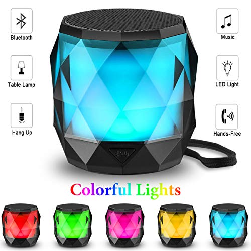 LED Bluetooth Speaker,LFS Night Light Wireless Speaker,Untra Mini Speaker,Diamond Shape Portable Wireless Bluetooth Speaker,Multi-Colored auto-Changing RGB LED Themes,Handsfree/TWS Supported ...