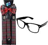 Enimay Suspender Bowtie Nerd Clear Glasses Nerd Costume Halloween (Red Plaid)