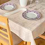Stain Resistant Tablecloth Polyester Ivory Easter Table Cover - Rectangular Square Round Washes Easily Non Iron - Thanksgiving Christmas New Year Eve Dinner Wedding (BEIGE Damask, Square 90'x90')