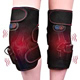 Knee Massager Heated and Vibration Therapy Knee Brace Wrap Knee Physiotherapy Massager for Pain Relief - Arthritis Injury Recovery - 2pcs for Left and Right - Wireless Powered by Portable Charger