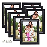 PETAFLOP 8x10 Picture Frames Black 8 by 10 Decorative Poster Frame Wall and Desktop Display, Set of 8