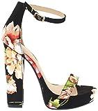 Shoe Republic Floral Open Toe Platform Sandal w/Block Heel Michela (Black 7)