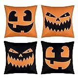 4 Pack Halloween Pillow Covers Pumpkin Smiley Face Throw Pillowcase With Hidden Zipper for Halloween Home Car Sofa Decor, 18 x 18 Inch