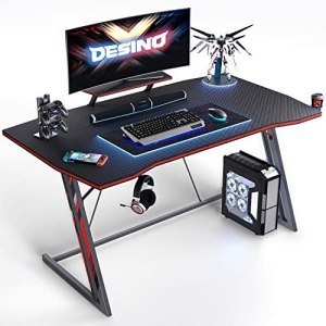DESINO Gaming Desk 40 inch PC Computer Desk, Home Office Desk Gaming Table Z Shaped Gamer Workstation with Cup Holder and Headphone Hook, Black