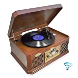 Bluetooth Compatible Classic Vintage Turntable - Retro Vinyl Wood Record Player Speaker System w/ CD Player and Cassette Deck, 3-Speed, AUX, RCA, AM FM Radio, 3.5mm Headphone Jack - Pyle PTCD4BT