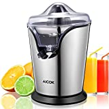Aicok Citrus Juicer Electric 100W Stainless Steel Orange Juicer Squeezer with Anti-drip Spout and Two Interchangeable Cones, Ultra Quiet Motor For Fresh Orange, Grapefruits and Lemon