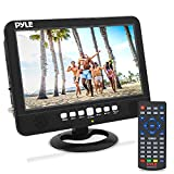 10 Inch Portable Widescreen TV - Smart Rechargeable Battery Wireless Car Digital TV Tuner, 1024x600p TFT LCD Monitor Screen w/Dual Stereo Speakers, USB, Antenna, Remote, RCA Cable - Pyle PLTV1053
