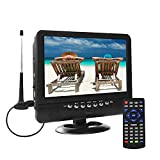 9.5 Inch Portable TV for ATSC Digital TV Viewing in The US, Canada, Mexico, USB/TF/AV in Player, max Support for 720P Video Player Black