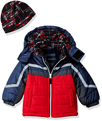 LONDON FOG Boys' Toddler Active Heavyweight Jacket with Ski Cap, Super red, 2T