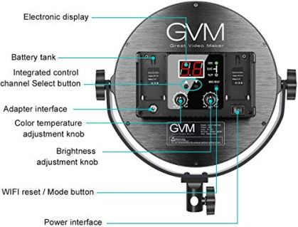 GVM-Desk-Mount-LED-Video-Light-106-Round-LED-Panel-Light-with-Built-in-Diffuser-and-LCD-Display-Bi-Color-Professional-Light-for-GameStudioStreamingYouTube-Video-Shooting-APP-Control-CRI-97