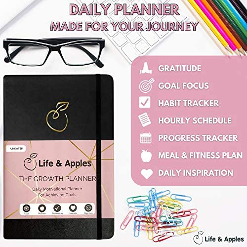 The Growth Planner - Daily Planner for Productivity, Focus and Gratitude - Goal Planner with Hourly Schedule and Monthly Calendar - Get Organized and Achieve Your Goals - Undated (Black) 6
