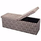 Otto and Ben 45-in SMART LIFT TOP Upholstered Ottoman Storage Bench – Moroccan Brown feat. cushioned seating with hidden storage / center folding lid