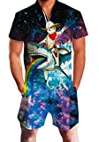 Mens Male Galaxy Nebula Space 3D Colouful Whale Shark Captain Cat Novelty Shorts Cargo Pants Jumpsuits Rompers Overalls XXL