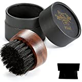 BFWood Beard Brush for Men - Boar Bristles Small and Round - Black Walnut Wood