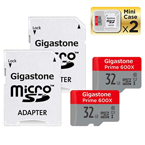 Gigastone Micro SD Card 32GB 2-Pack MicroSD HC U1 C10 with Mini Case and SD Adapter High Speed Memory Card Class 10 UHS-I Full HD Video Nintendo Dashcam Gopro Camera Samsung Canon Nikon DJI Drone