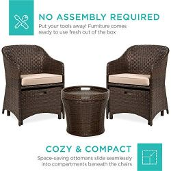 Best Choice Products 5-Piece Outdoor Wicker Patio Bistro Space Saving Furniture Set w/Storage Table, No Assembly – Brown