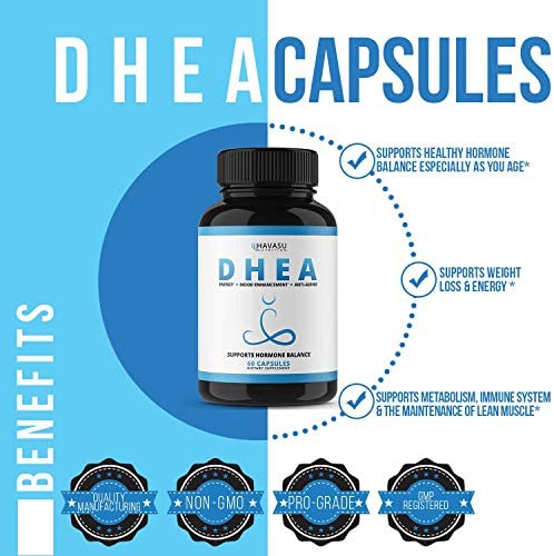 Havasu Nutrition DHEA 50mg Extra Strength Designed for Promoting Youthful Energy, Balance Hormone Levels & Supports Lean Muscle Mass, Non-GMO, Supplement for Men & Women, 60 Capsules 5