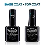 Perfect Summer Gel Nail Polish Base Coat and Top Coat Soak Off UV LED Gel Varnish Clear Shiny Finish,Pack of 2PCS, 10ml Each