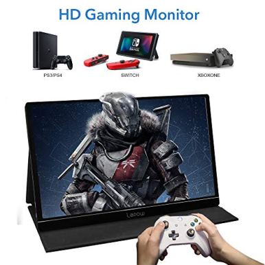 Portable-Monitor-Lepow-156-Inch-Full-HD-1080P-USB-Type-C-Computer-Display-IPS-Eye-Care-Screen-with-HDMI-Type-C-Speakers-for-Laptop-PC-PS4-Xbox-Phone-Included-Smart-Cover-Screen-Protector-Black