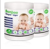 Disposable Cloth Diaper Bamboo Liners - 2 Rolls,100 Sheets Each, Fragrance Free & Chlorine Free, Compostable, Dye Free Flushable Biodegradable Viscose Bamboo Liners for Cloth Diaper