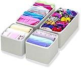 Simple Houseware Foldable Cloth Storage Box Closet Dresser Drawer Divider Organizer Basket Bins for Underwear Bras, Gray (Set of 4)