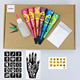 Temporary Tattoo Kit-6Color Temporary Tattoo Paste Cone,1 x Applicator Bottle and 4 x Plastic Nozzle,Free Adhesive Stencil(Body and Hand)