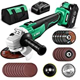 20V 4-1/2 Inch Brushless Cordless Angle Grinder 9000RPM w/ 4.0Ah Lithium-Ion Battery&Fast Charger, 2-Position Adjustable Auxiliary Handle, Electric Brake, 5 Cutting Wheel, 5 Grinding Wheel, Tool Bag