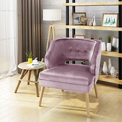 Christopher Knight Home Mariposa Mid-Century Velvet Accent Chair, Light Lavender / Natural