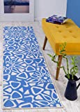 Antep Rugs Casa Azul Collection Geometric Contemporary Non-Skid (Non-Slip) Low Profile Pile Rubber Backing Indoor Area Runner Rug (Blue/Cream, 1'10' x 7')