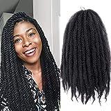 K&G HAIR 3Packs Marley Braiding Hair 18Inch Afro Marley Hair For Twists Synthetic Kinky Braiding Hair Extensions (#1B)