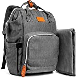 Grey Large Capacity Diaper Bag Backpack for Mom/Dad, YumYum Love Unisex Stylish Multifunctional Travel Pack Maternity Baby Diaper Backpacks, Insulated Pockets, Lightweight, Waterproof, Changing Pad