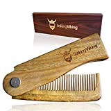 Folding Wooden Comb for Beards, Mustaches, Head Hair - Men's Pocket Sized, Durable, Anti-Static Sandal Wood Comb - Styling Combs for Men - Includes Gift Box - Striking Viking