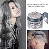 Silver Gray Hair Wax ,YHMWAX Fashion Colorful Hair Wax Pomades Disposable Natural Hair Strong Style Gel Cream Hair Dye,Instant Hairstyle Mud Cream for Party, Cosplay, Masquerade etc. (Silver Gray)