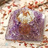 ORGONITE Amethyst Pyramid with Healing Crystals for EMF Protection & Balancing Crown Chakra | ORGONE Energy Generator with FLOWER OF LIFE to protect against Negativity & achieve Stress Relief!!!