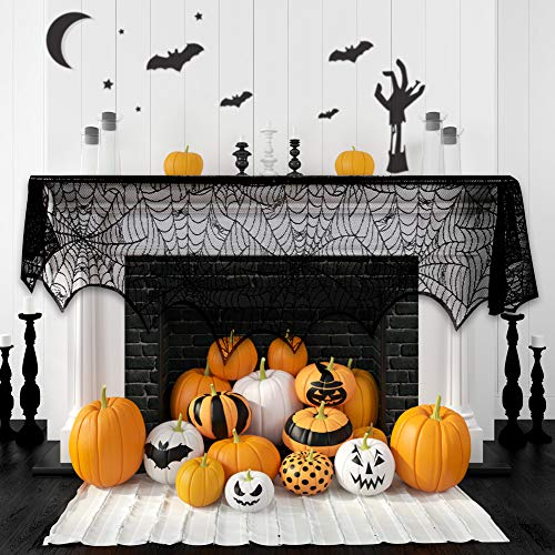 Halloween Fireplace Decoration Festive Party Supplies Lace Spiderweb Fireplace Mantle Scarf Cover Black Cobweb Fireplace Scarf Indoor Halloween Door Table Porch Decor 35x95 inch