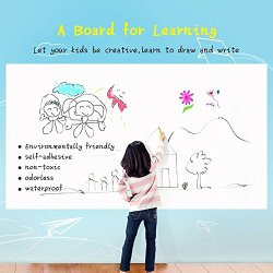 Dry Erase Whiteboard Sticker Wall Decal, Self-adhesive White Board Peel Stick Paper for School,Office,Home,Kids Drawing with 1 Water Pen (78.7″ x 17.7″)