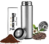 ALL IN ONE Tumbler and Travel Mug | Tea Infuser Portable Water Bottle | Fruit Infused Flask | Hot & Cold Double Wall Coffee Thermos | Stainless Steel 16.9 oz Silver