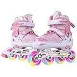 Dongchuan Kids Inline Skates Size 10 11 12 1 for Girls Flash Wheels Roller Skates Breathable Mesh Inline Skate Rollerblades Aluminum Frame Adjustable Outdoor/Indoor Gift