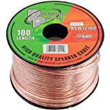 100ft 12 Gauge Speaker Wire - Copper Cable in Spool for Connecting Audio Stereo to Amplifier, Surround Sound System, TV Home Theater and Car Stereo - Pyramid RSW12100