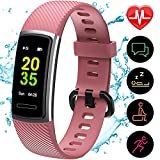 Yemo Updated 2019 Version Fitness Tracker HR, Activity Trackers Health Exercise Watch with Heart Rate and Sleep Monitor, Smart Band Calorie Counter, Step Counter, Pedometer Walking (Pink)
