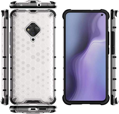 Cassby Shock Proof Dual Layer Hybrid Armor Back Cover Case with Honeycomb Pattern for Vivo S1 Pro - Transparent 3