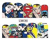 Full Set of 10 Superman Batman Wonder Woman Bat Girl Nail Wrap Decals Sticker Salon Quality Nail Art - 1 Sheet - Punk Gothic Rockabilly