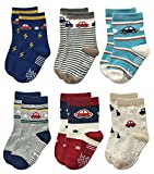 RATIVE Non Skid Anti Slip Slipper Cotton Crew Socks With Grips For Baby Toddlers Kids Boys (9-18 Months, 6 designs/RB-712)