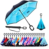Monstleo Inverted Umbrella,Double Layer Reverse Umbrella for Car and Outdoor Use by, Windproof UV Protection Big Straight Umbrella with C-Shaped Handle and Carrying Bag (Sky Blue)