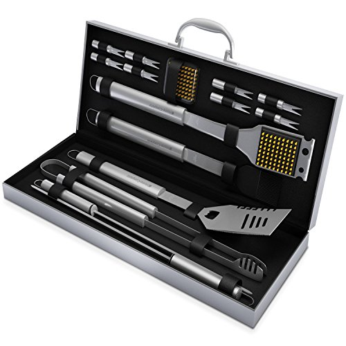 Home-Complete SYNCHKG054408 HC-1000 BBQ Grill Tool Stainless Steel Barbecue Gri, 16 Piece Set, Silver