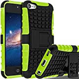iPod Touch 7 Case,iPod Touch 6 Case,iPod Touch 5 Case, SLMY(TM) Heavy Duty Dual Layer Shockproof Hybrid Rugged Cover Case with Built-in Kickstand for Apple iPod Touch 5 / 6 / 7 Green