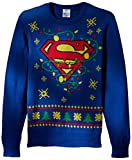 DC Comics Batman Men's Superman Logo Ugly Christmas Sweater with Led Lights, Blue, X-Large