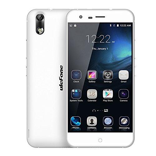 Ulefone Paris 5 Inch 4G LTE Android 5.1 Mobile Phone 64bit Octa Core MTK6753 1.3GHz 2GB RAM +16GB ROM 13MP Smartphone (White)