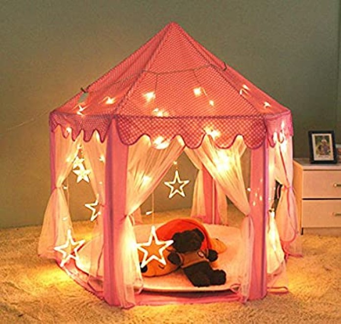 "[Updated] Kids Indoor Princess Castle Play Tent,55""x 53""(DxH),PortableFun Perfect Hexagon Large Playhouse Toys for Girls Childs Toddlers Gift/Presents With Led Star Lights - Balls Not Included"