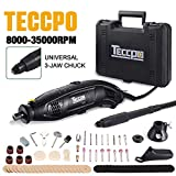 Rotary Tool, TECCPO 8,000-35,000RMP 5-Speed Variable Speed Rotary Tool, Universal 3-Jaw Chuck, 80 Accessories, 3 Attachments and Carrying Case, Multi-Functional for Around-the-House Crafting Projects